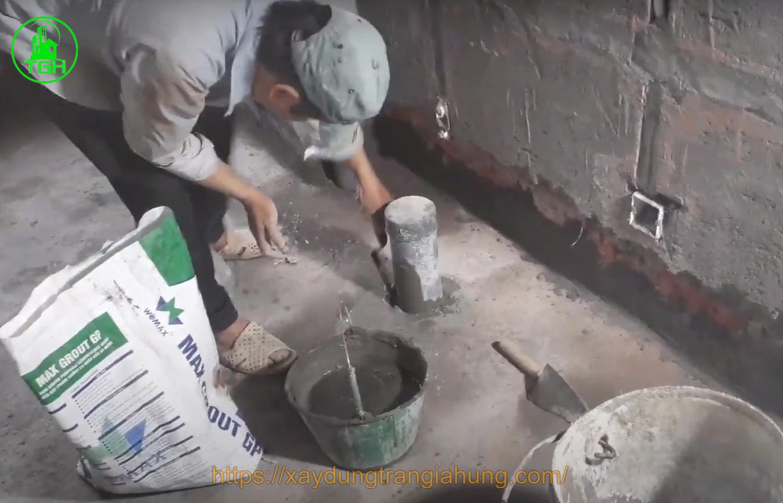 chống thấm cổ ống nhà vệ sinh bằng vữa chống thấm grout